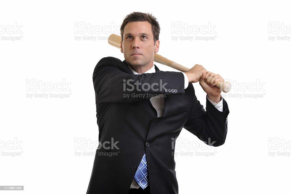 Businessman Swinging Baseball Bat Isolated on White Background royalty-free stock photo