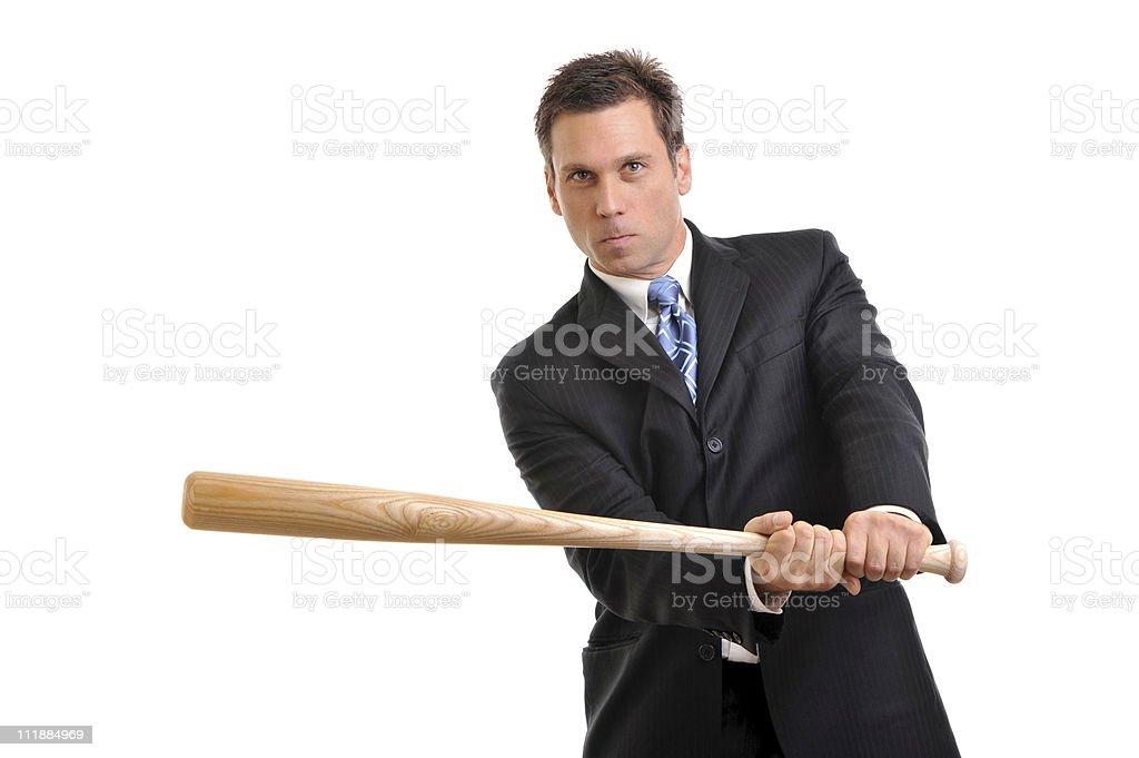 Businessman Swinging Baseball Bat on White royalty-free stock photo