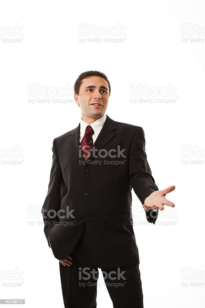 Businessman Talking and Gesturing, Studio Portrait royalty-free stock photo