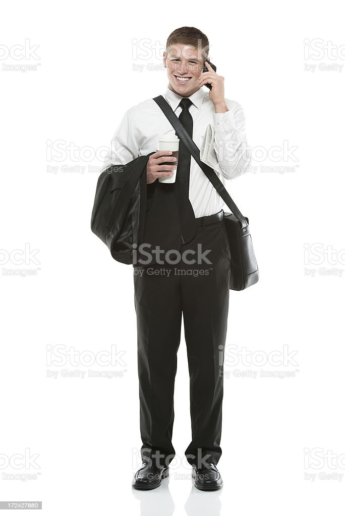 Businessman talking on a mobile phone royalty-free stock photo