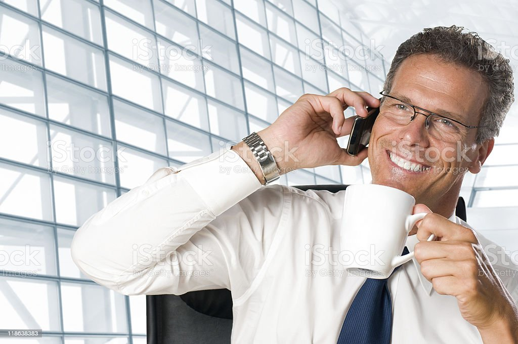 Businessman talking on mobile in office royalty-free stock photo