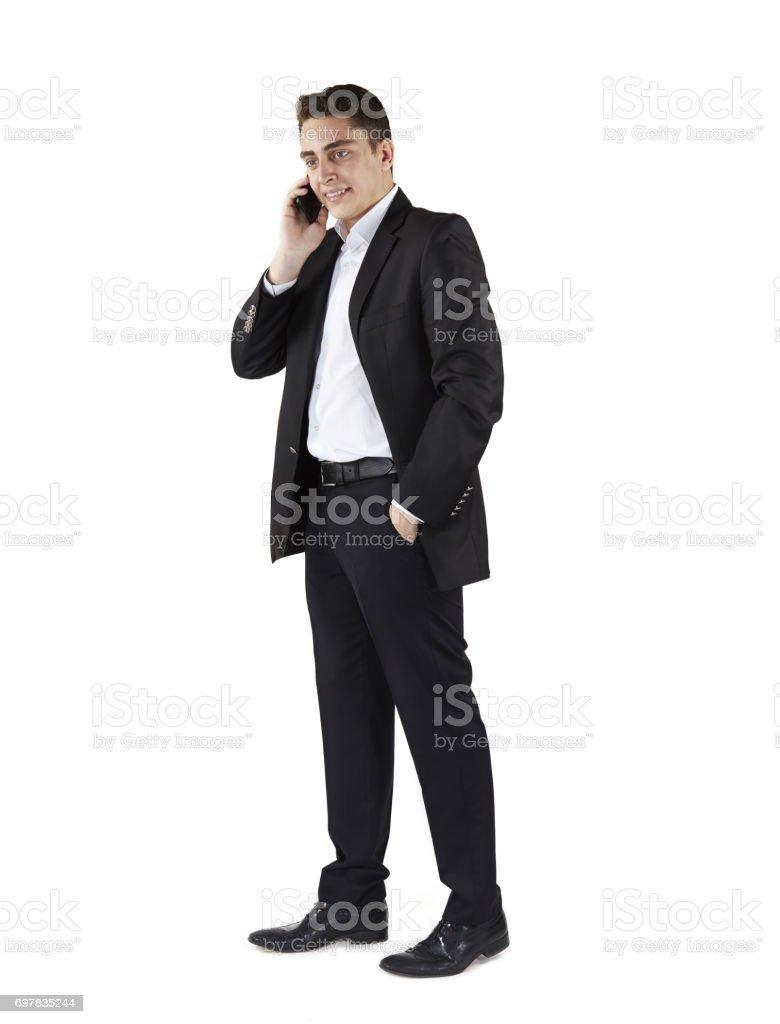 Businessman talking on mobile stock photo