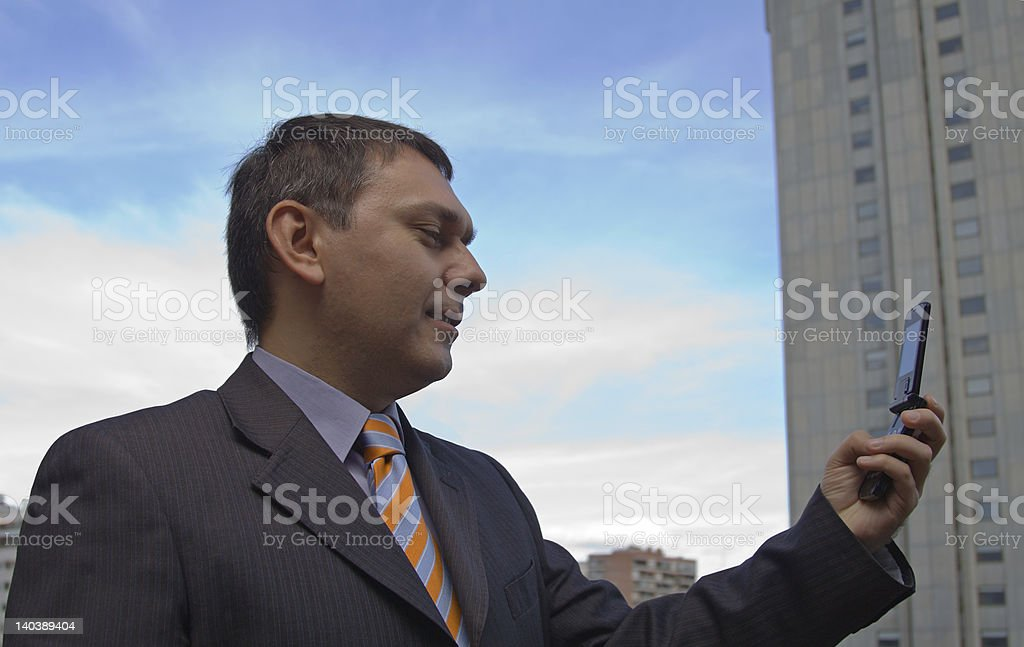 Businessman talking on Video Cell Phone royalty-free stock photo