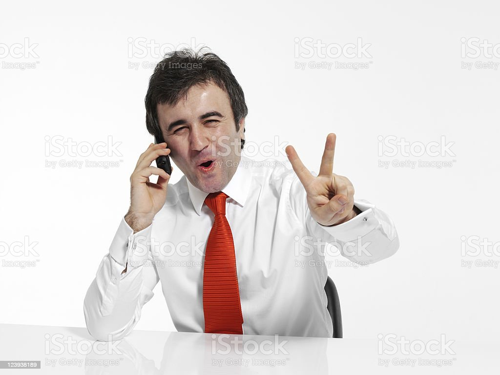 Businessman talking with the phone stock photo