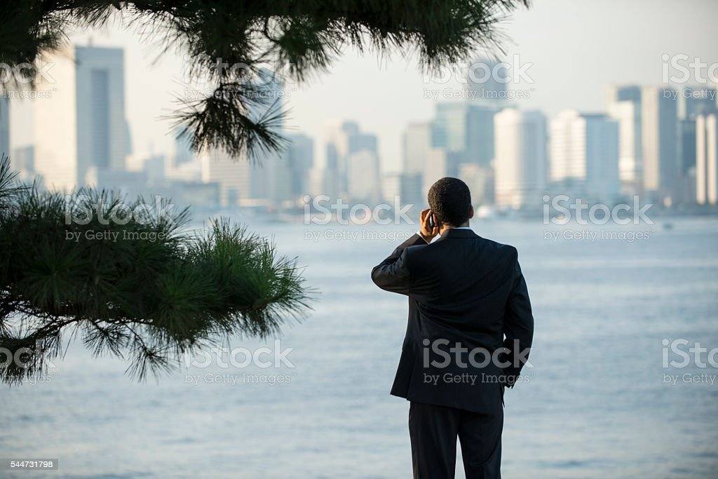 Businessman talks to phone staring city skyline. stock photo