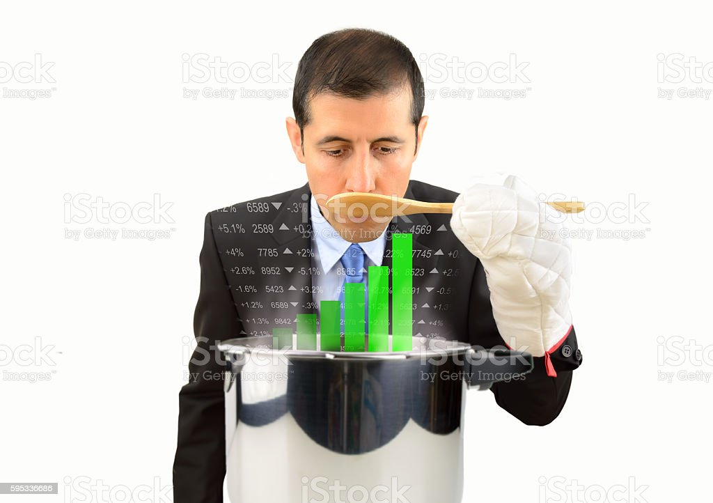 businessman tasting the meal stock photo