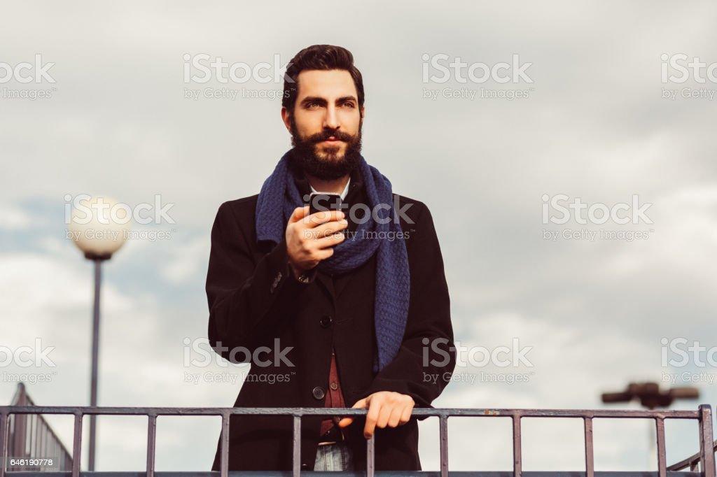Businessman texting stock photo