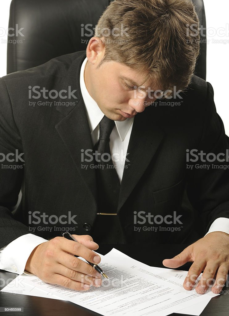 businessman the studying contract before signature royalty-free stock photo