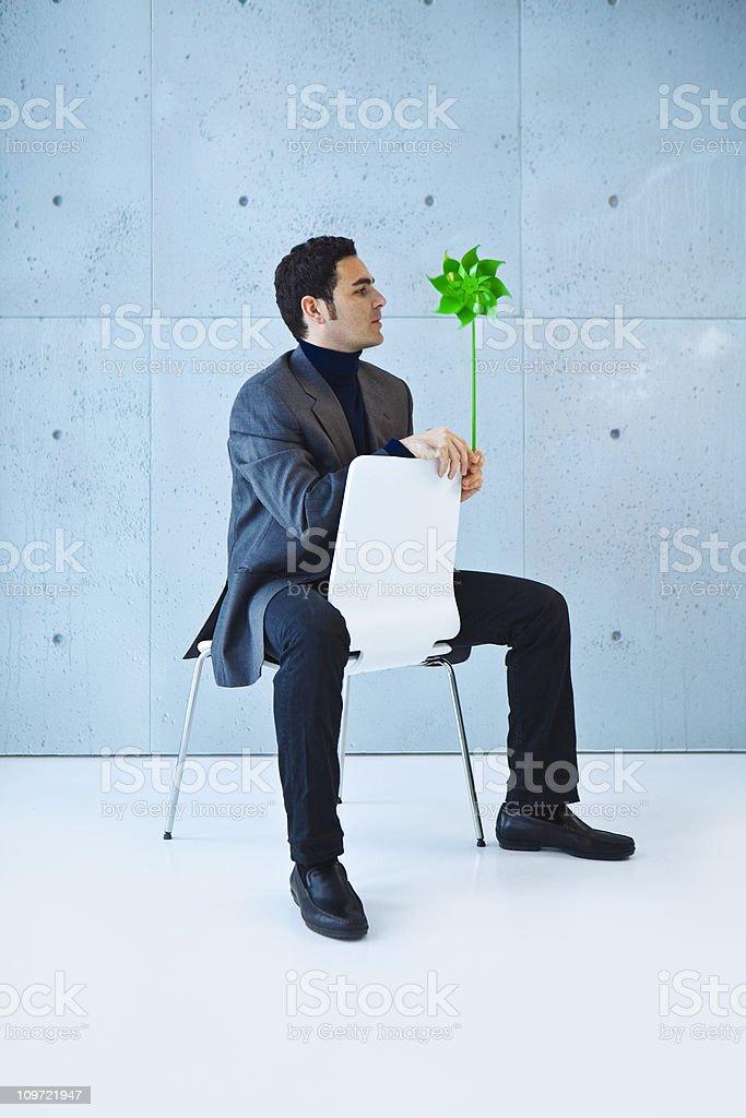 Businessman thinking green royalty-free stock photo