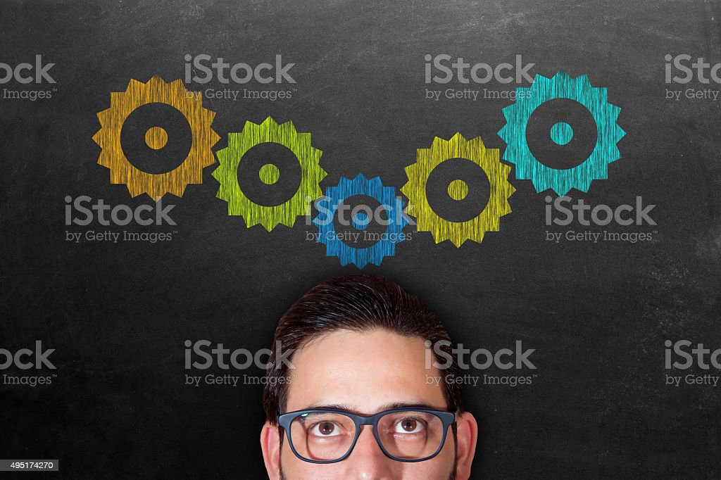 Businessman thinking new ideas stock photo