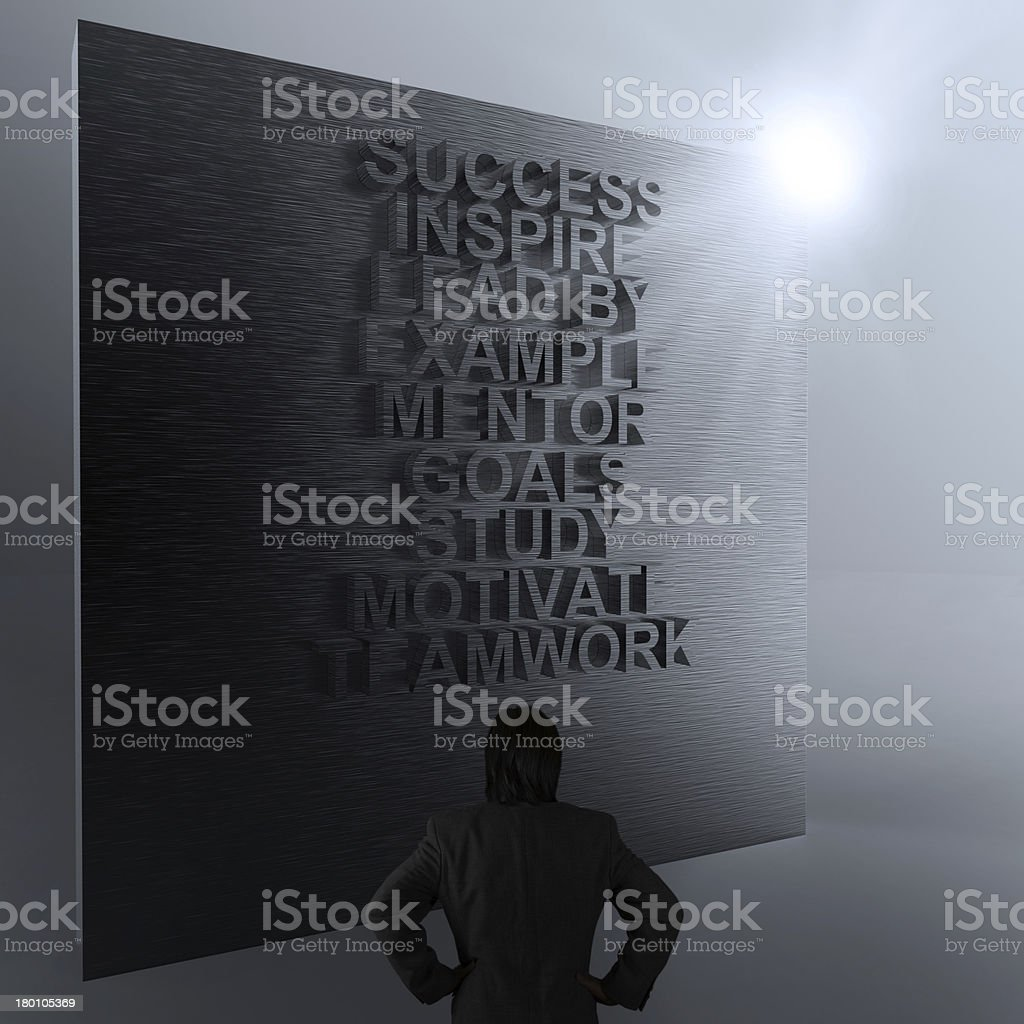 businessman thinking of success business diagram on metal wall royalty-free stock photo