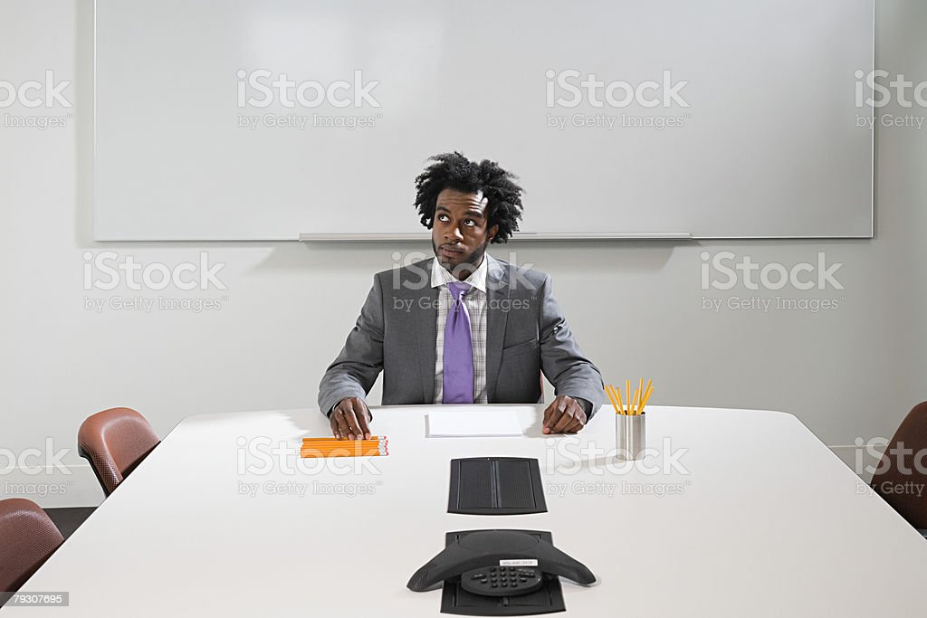 A businessman thinking stock photo