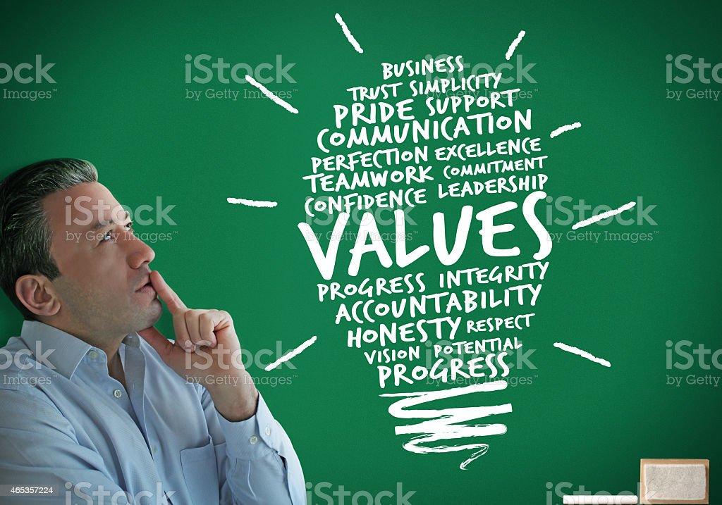 Businessman Thinking Values stock photo