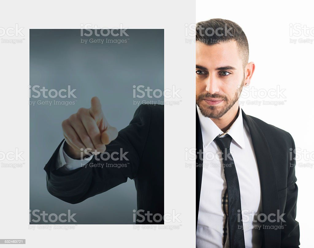Businessman Through a Touch Monitor stock photo