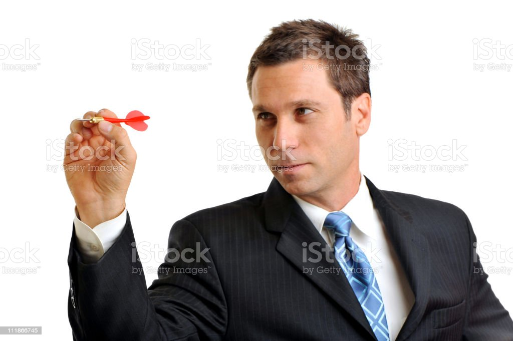 Businessman Throwing Dart Isolated on White Background stock photo