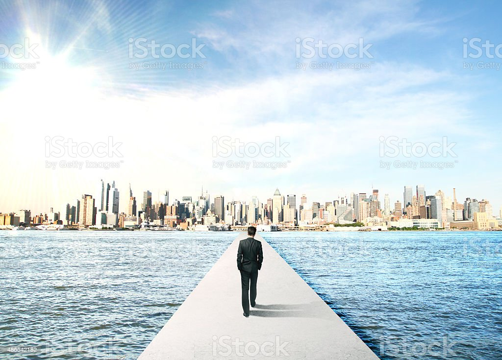 businessman to city stock photo