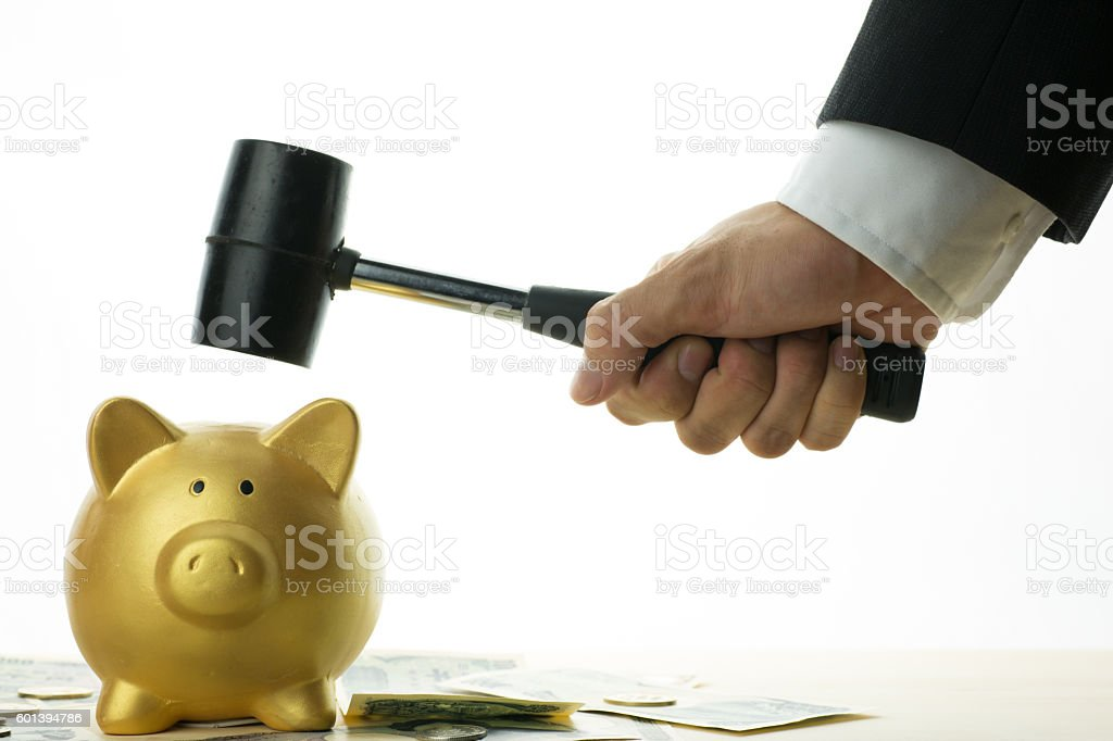 Businessman to destroy stock photo