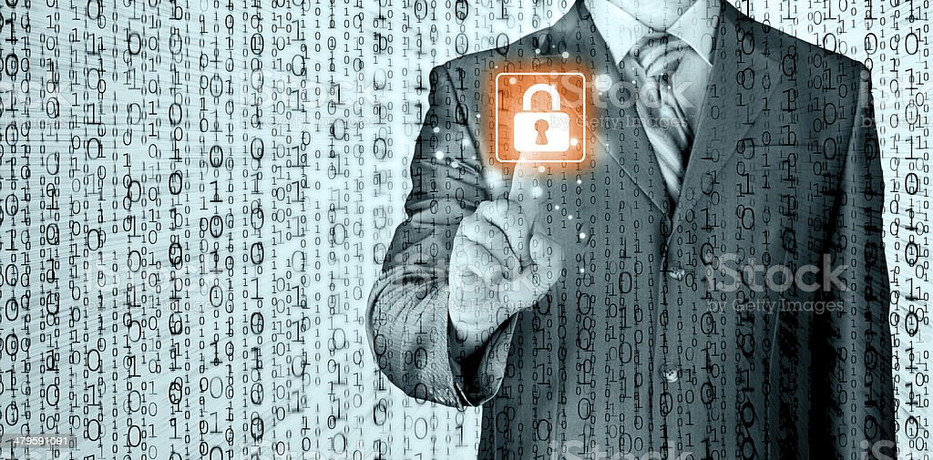 Businessman touch lock on world map  background stock photo