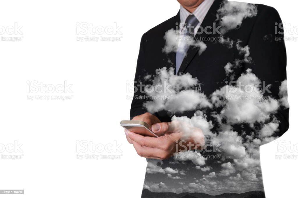 businessman touch screen smartphone as Cloud Computing Network concept. stock photo
