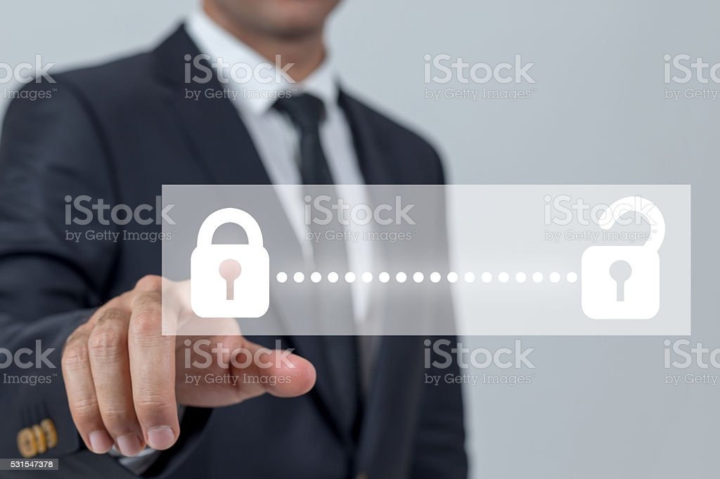 Businessman touch unlocking concepts stock photo