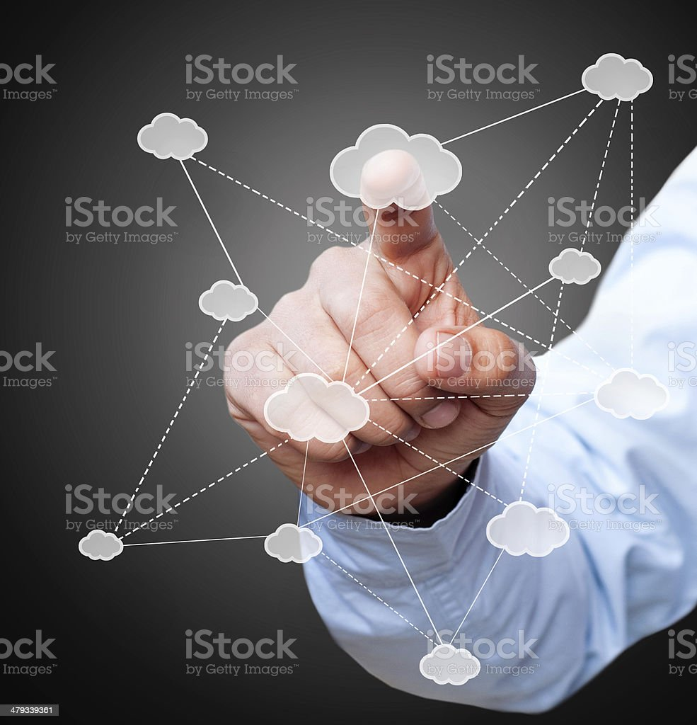 Businessman touching cloud icon royalty-free stock photo