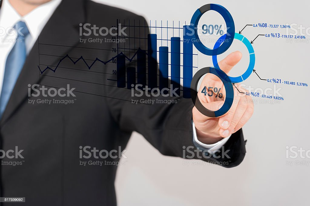 Businessman touching dashboard stock photo