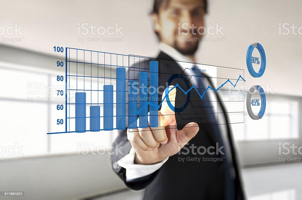 Businessman touching dashboard stock photo