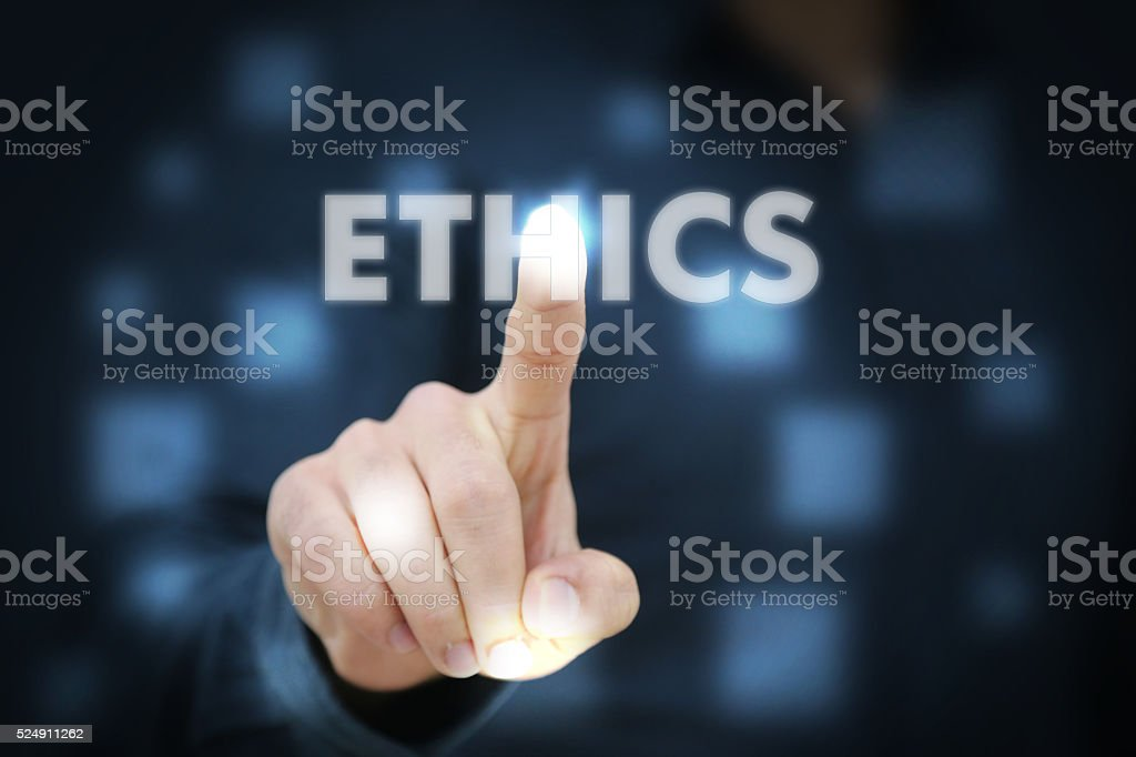 Businessman touching Ethics stock photo