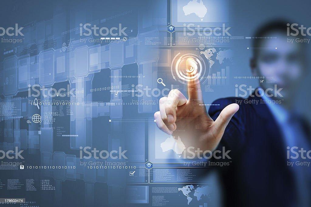 Businessman touching icon royalty-free stock photo