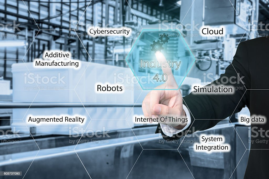 Businessman touching industry 4.0 icon in virtual interface stock photo