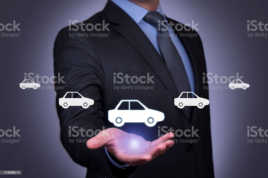 Businessman Touching Insurance Concept stock photo
