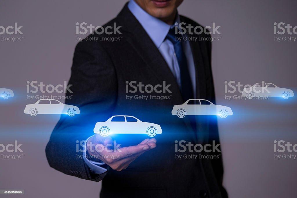 Businessman Touching Insurance Concept stock photo