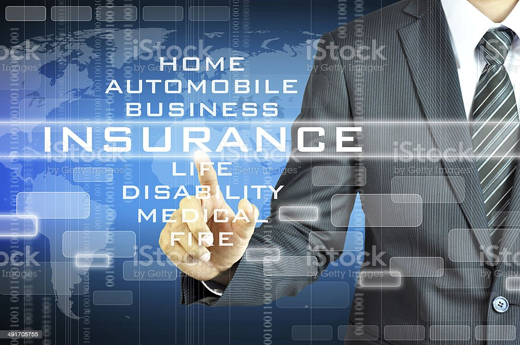 Businessman touching INSURANCE  sign on virsual screen stock photo