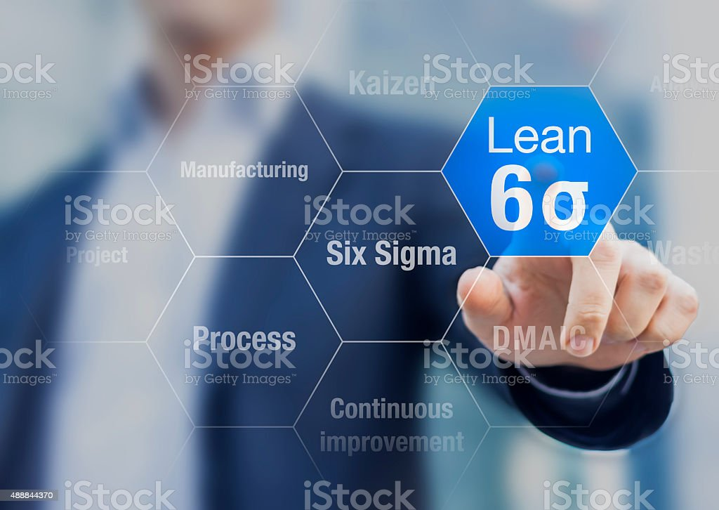 Businessman touching lean six sigma button for improved manufacturing stock photo