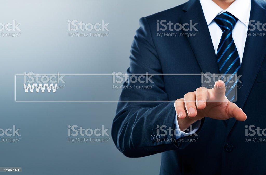 businessman touching link stock photo