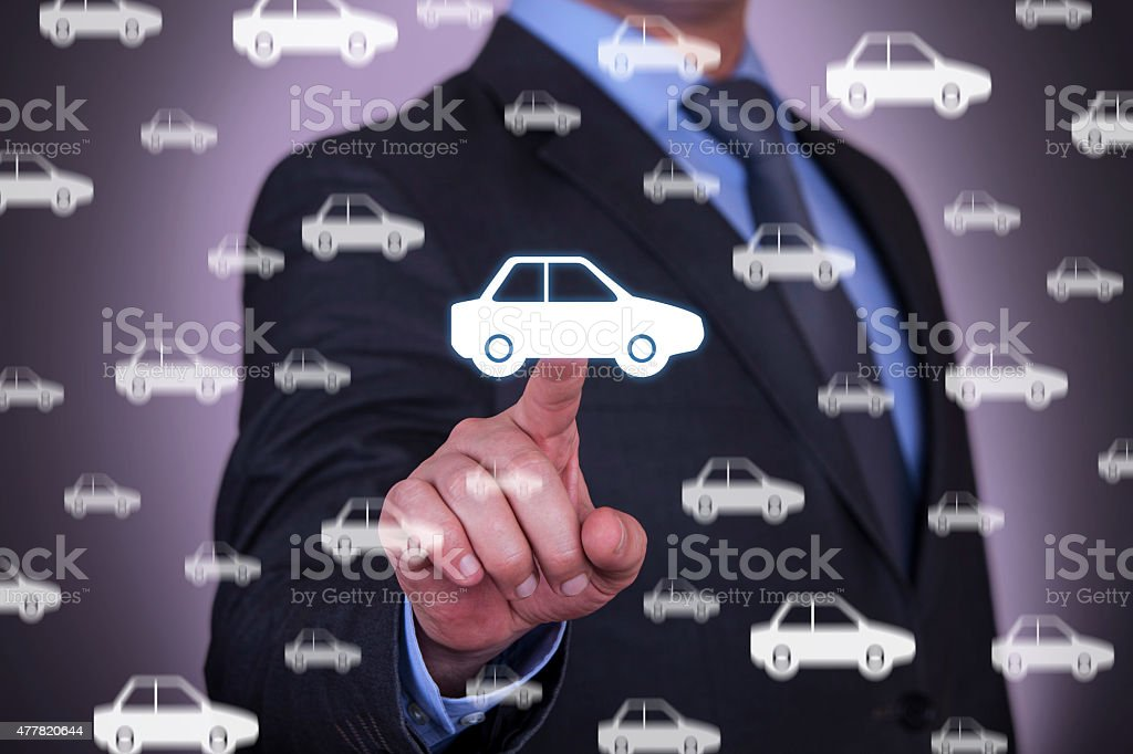 Businessman Touching New Car stock photo