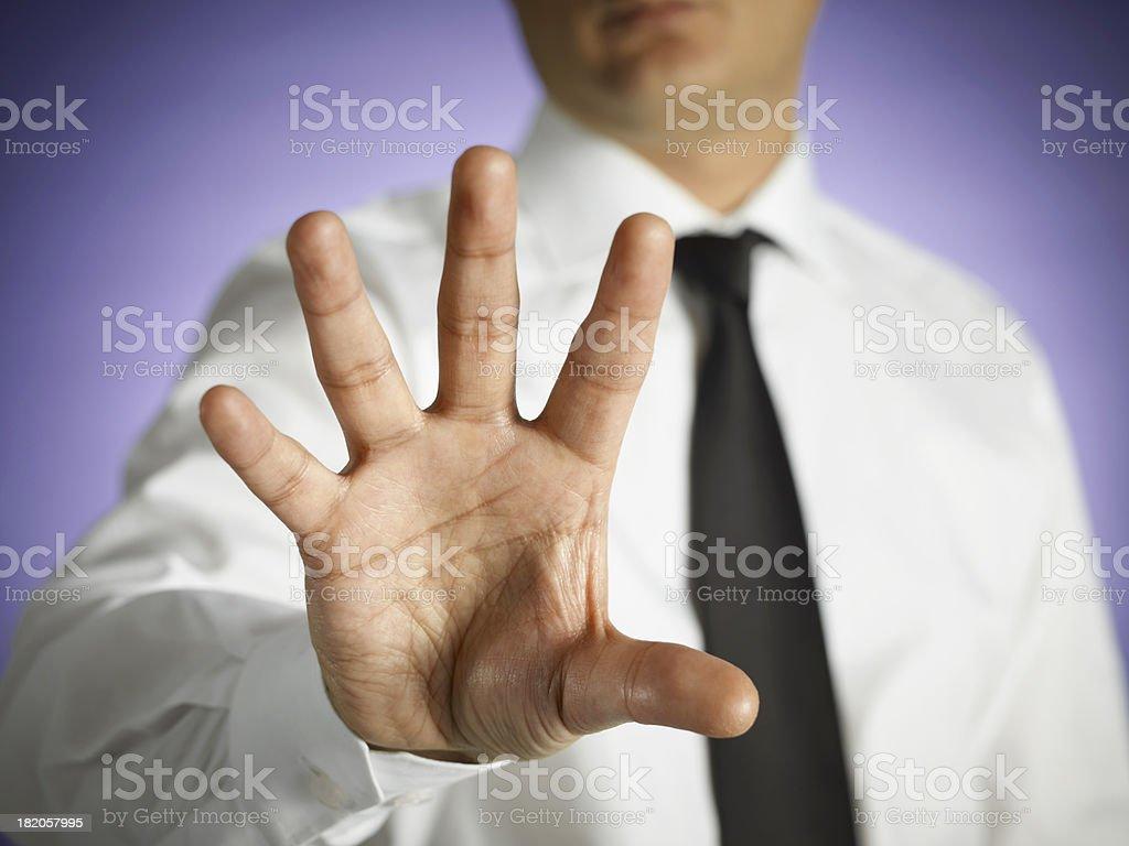 Businessman Touching On Virtual Screen royalty-free stock photo