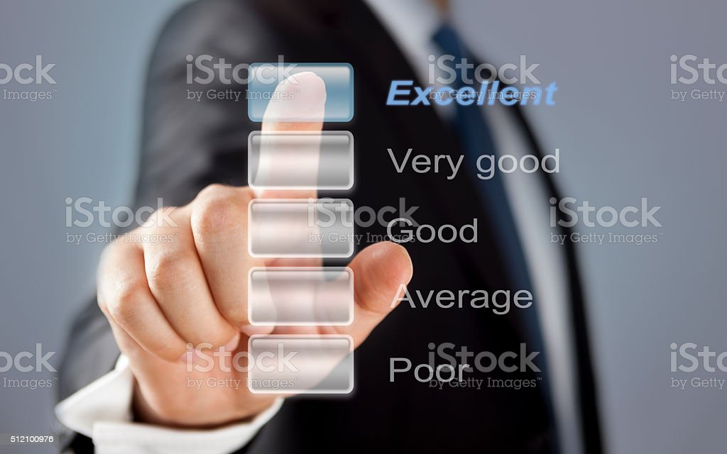 Businessman touching performance visual screen stock photo