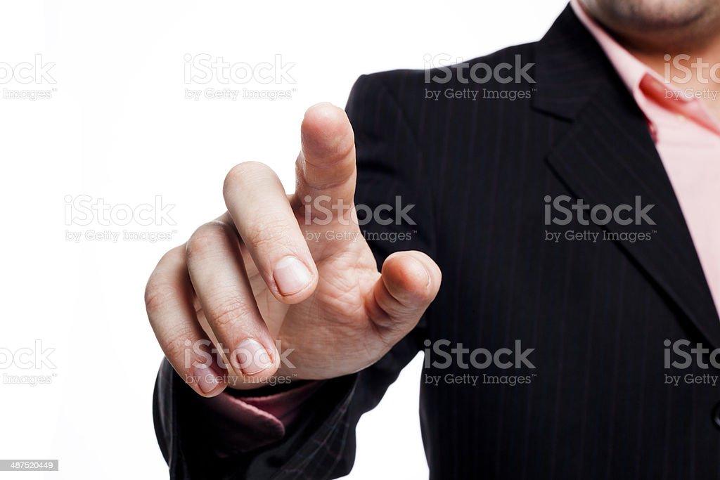 Businessman touching stock photo