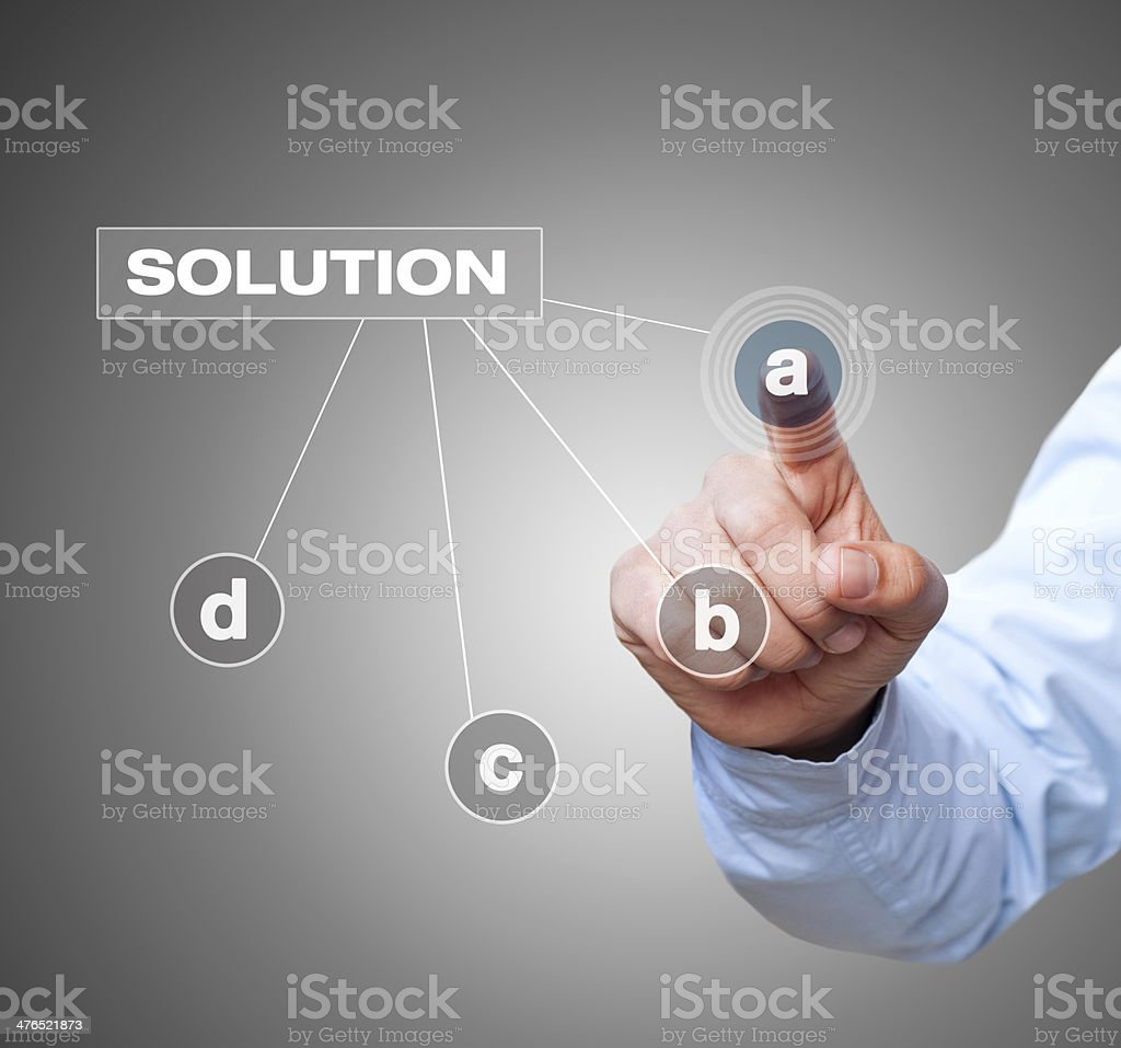 Businessman touching solution a stock photo