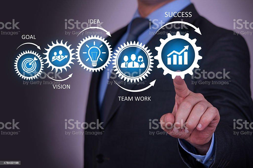 Businessman Touching Success Concept stock photo