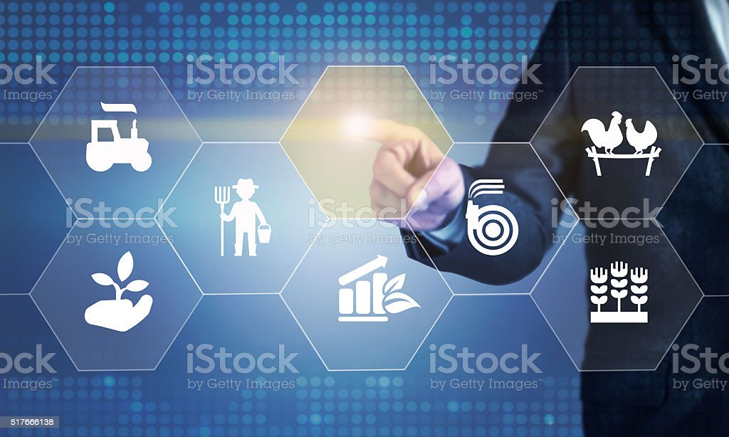 Businessman touching the screen about agriculture consept stock photo