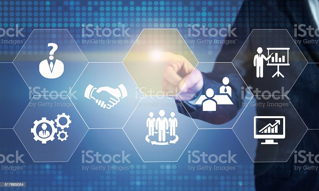 Businessman touching the screen about human resources stock photo