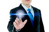 Businessman touching the virtual screen