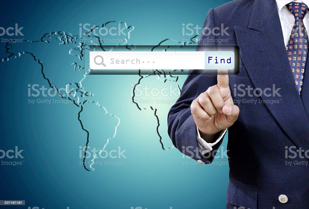 Businessman Touching virtual search bar stock photo