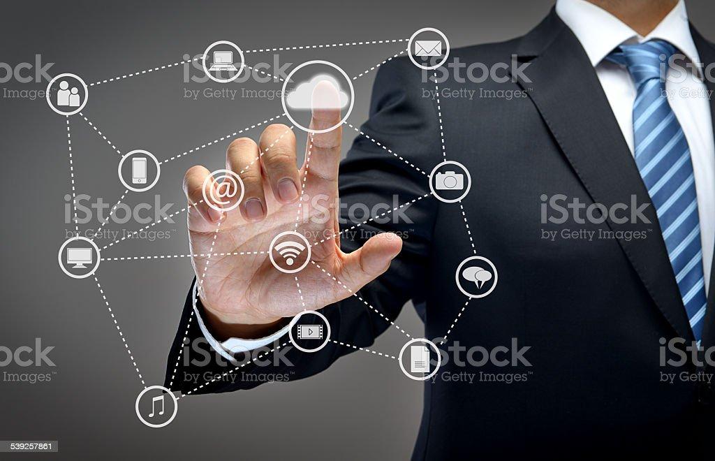 Businessman touchscreen stock photo