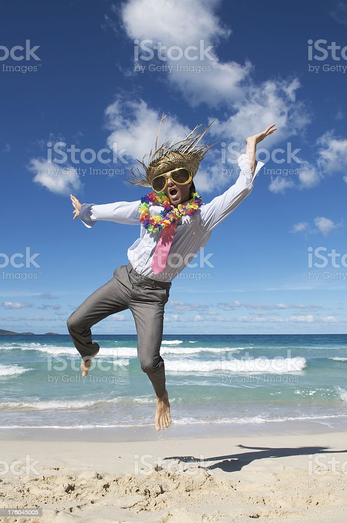 Businessman Tourist Goes Crazy on the Beach royalty-free stock photo