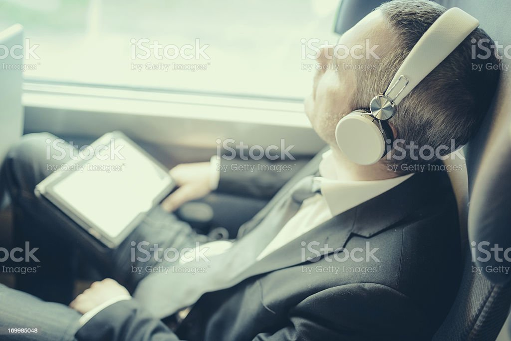 Businessman train travelers royalty-free stock photo