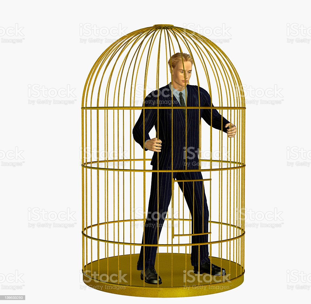 Businessman Trapped in Cage - includes clipping path royalty-free stock photo