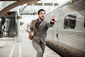 Businessman trying to catch the train